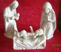 Three pc. Vintage HOLY FAMILY Nativity figures White Porcelain Dresden Germany