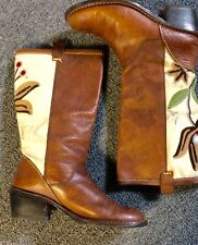 Vintage Leather Boots Embroidered Boots Leather and Canvas Boots Size 7.5
