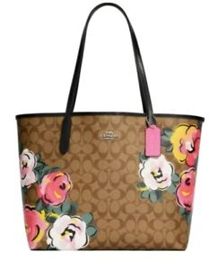 NWT Coach City tote in signature canvas with Vintage Rose print C5785