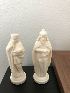 4 inch Black & Cream Medieval Themed Plastic Chess Pieces