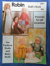 Vintage Robin Doll's Book dolls clothes knitting patterns baby and fashion dolls