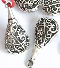 30mm Silver Pewter Pipa Teardrop Filigree Charm Pendant (8) ~ Lead-Free ~