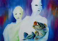 Original ART ACEO oil PAINTING surreal figurative fish & people DREAMY VISIONARY