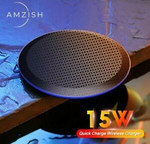 Amzish 15W Veloce Qi Caricatore Wireless Per Iphone 12 11 X Xs 8 Samsung Huawei