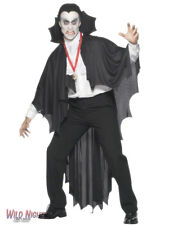***SALE*** Fancy Dress Accessories # Halloween Mens Black Vampire Cape 183cm