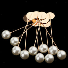 Brooch Pin Collar Suit Lapel Pin 10Pcs Unisex White Faux Pearl Stick Breastpin