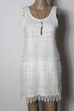 H&M Kleid Gr. 38 creme-weiß kurz/mini Träger Etui Kleid aus Häkelspitze