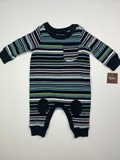 Baby Boys Tea Collection 0-3 Months NWT Black Striped Knee Patch Romper