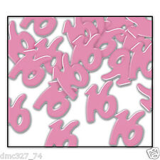 SWEET 16 Sixteen Party Decoration Pink Metallic Table Scatters 16 CONFETTI