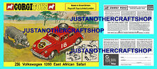 Corgi Toys 256 Volkswagen 1200 African Rally Car Poster and Instruction Leaflet