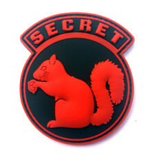 3D Pvc Top Secret Squirrel Black Ops Military Tactical Morale Hook Patch Red