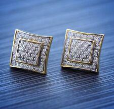 Square Screw Back Earrings Size 15mm Men's Hip Hop Solid 14k Gold Large