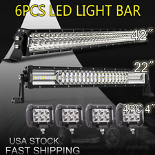 "42Inch LED Light Bar Combo + 22in +4"" CREE PODS OFFROAD SUV 4WD FORD JEEP 20/30"