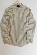 TOMMY HILFIGER striped shirt long sleeve embroidered logo SZ LARGE (ZC313)