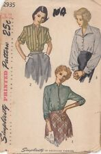 Vintage Front Buttoned Blouse Sewing Pattern S2935 Size 14