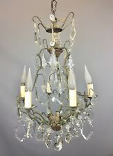 Antique French Cut Glass Six Light Cage Chandelier