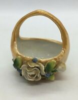Vintage Lusterware Porcelain Made In Germany Small Flower Basket Beautiful Old