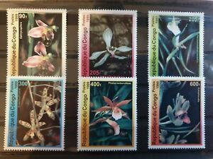 Congo 1999 Orchids 6 stamp set MNH