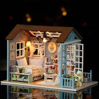 3D Handcraft Toy Doll Miniature Wooden House Studio Kit w/LED Light Retro Furni