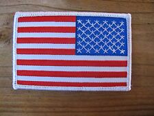 AMERICAN FLAG EMBROIDERED PATCH iron-on WHITE BORDER USA US United States RIGHT