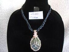 Celtic Irish Connemara Marble Rose Gold Trinity Leather Plaid Necklace