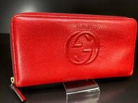 Auth GUCCI Soho GG Logo Zip Round Leather Large wallet Purse Red Italy 58417937