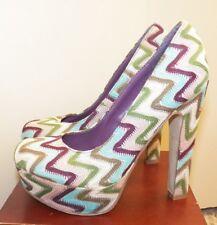"MADDEN GIRL~MALLEY~Womens Shoes Size 6 Zig Zag Rainbow Retro Platform 5"" Heels"