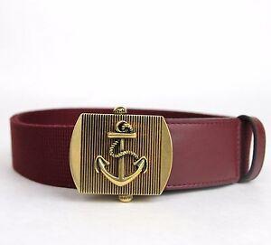 New Gucci Men's Burgundy Fabric Belt Military Anchor Brass Buckle 375191 6148