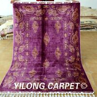Yilong 4.3'x6.6' Handmade Silk Rugs Classic Pattern Hand Knotted Top Carpet 1719
