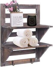 2-Tier Organiser Rack Bathroom Shelf Toilet Wood Wall Mounted Floating Shelves
