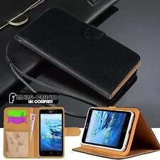 Negro Folio Abatible Cubierta De pie Billetera Cuero Estuche Para Varios Teléfonos Acer Liquid