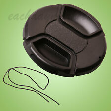 82mm Snap-on Centre Pinch Lens Front Cap with Keeper Black - UK stock