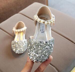 Baby Kids Girls Princess Casual Flat Leather Pearl Rhinestone Party Sandal Shoe