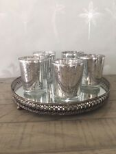 Mirror Candle Tray with 5 Mercury Silver Tea Light Candle Holders Wedding Decor