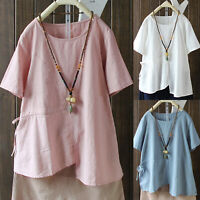 Women Casual Crew Neck Short Sleeve T-Shirt Tunic Top Loose Vintage Blouse 10-22