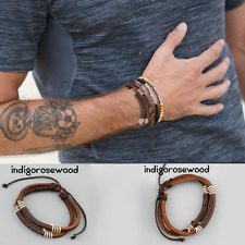 Surfer Genuine Men's Leather Brown Rope Cord Adjustable Beach Surf Bracelet