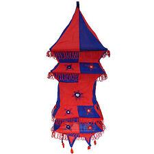 Abat-jour pagode carrée bleu-rouge 70cm lampe suspendu patchwork éclairage