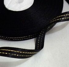 "Black with Metallic Light Gold Edge Satin Ribbon 32y 3/8"" / 9mm width S73 Gold"