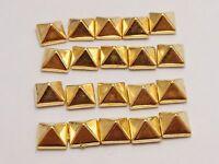 100 Gold Metallic Acrylic Rock Punk Pyramid Spike Studs 9X9mm No Hole Cabochon