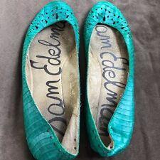 Sam Edelman Leighton Ballet Flat  Green Snake Leather Upper/Sock Sz 8 GUC