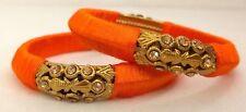 Indian Fashion Orange SilkThread Wrapped Kada Women Bangles Set Size 2.8 Jewelry