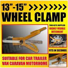 "Heavy Duty 13"" 14"" 15"" Car Wheel Clamp Van Safety Lock Caravan Trailer 2 KEYS"