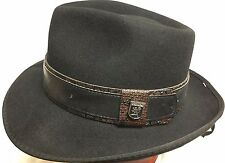 STACY ADAMS 100% WOOL TRILBY FEDORA Medium WOOL HAT M 7 1/8 BLACK/BROWN