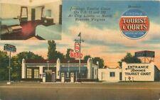 Jennings Tourist court Esso Gas Station Roanoke Virginia Roadside Linen Postcard