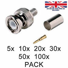 BNC Crimp Connector Male RG59 3 in 1 Coaxial Cable Plugs CCTV Accessory UK