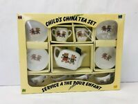 Teddy Bear Tea Set Child's China Dishes Vintage 1980s Action Industries Playset