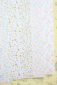 Pastel Floral Patterns Card Stock 250gsm wedding scrapbook paper craft cardstock
