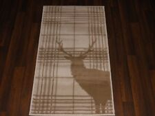 NEW MAT/RUG NOVELTY DESIGNS 60CMX110CM BARGAIN STANDING CHECKED STAG CREAMBEIGE