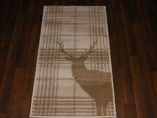 NEW MAT/RUG NOVELTY DESIGN 60CMX110CM BARGAIN STANDING CHECKED STAG CREAMBEIGE