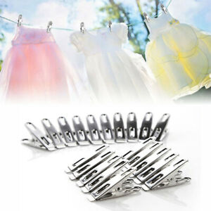 Pack of 20/40 Stainless Steel Spring Loaded Metal Laundry Clothes Clip Pegs